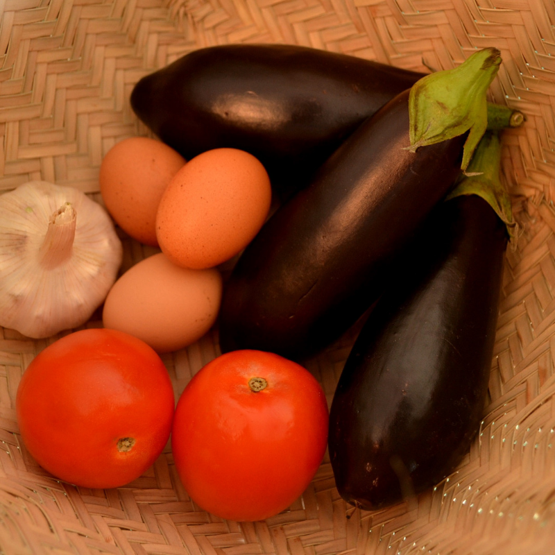 Step 1 of making Low- Carb Stew of Smocked Aubergine(Vegetarian)