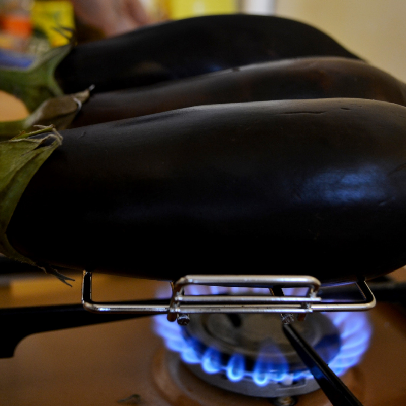 Step 2 of making Low- Carb Stew of Smocked Aubergine(Vegetarian)