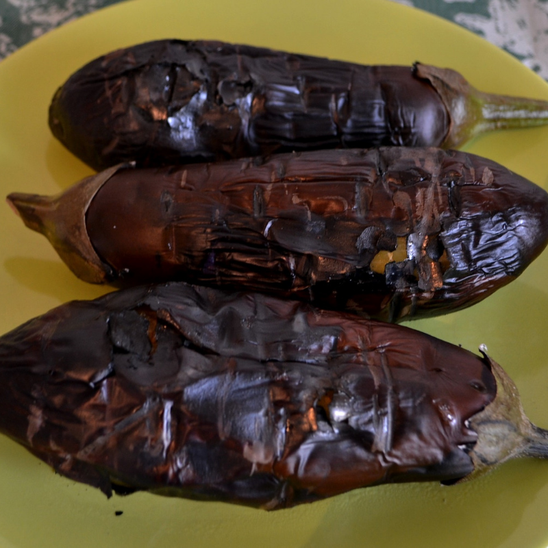 Step 3 of making Low- Carb Stew of Smocked Aubergine(Vegetarian)